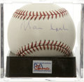 Autographs:Baseballs, Warren Spahn Single Signed Baseball, PSA NM-MT+ 8.5. Lefty Hall ofFame ace and 14-time NL All-Star Warren Spahn provides a ...