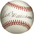 "Autographs:Baseballs, Ted Williams Single Signed Baseball. The ""Splendid Splinter"" added his classic autograph to the sweet spot of the OAL ( Bro..."