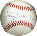Autographs:Baseballs, Johnny Vander Meer Single Signed Baseball. The only pitcher in themajor leagues to have thrown back-to-back no hitters, Jo...