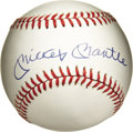 Autographs:Baseballs, Mickey Mantle Single Signed Baseball. The OAL (Brown) baseballholds the signature of one of the most beloved players of al...