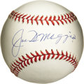 Autographs:Baseballs, Joe DiMaggio Single Signed Baseball. Splendid application of JoeDiMaggio's highly desirable signature appears on the OAL (...