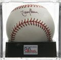Autographs:Baseballs, Randy Johnson Single Signed Baseball, PSA Mint 9. The co-MVP of the'01 Fall Classic applies a perfect signature to this of...