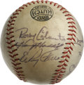 Autographs:Baseballs, 1960s Baseball Stars Multi-Signed Baseball. Nine of your favorite players from 1960s fame have checked in on the offered Li...
