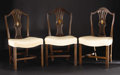 Furniture, A Set of Seven Hepplewhite Dining Chairs. Unknown maker. Eighteenth Century. Mahogany. Unmarked. 38 inches tall. Consist... (Total: 7 )