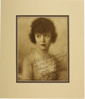 Movie/TV Memorabilia:Autographs and Signed Items, Mabel Normand Signed Portrait. Autographed vintage reproduction ofan altered photographic portrait of Mabel Normand, the mo...(Total: 1 Item)