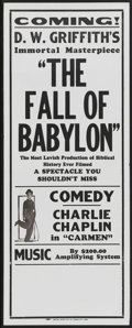 """Movie Posters:Drama, The Fall of Babylon (David W. Griffith Corp., R-1920s). Broadside(11"""" X 28""""). Drama...."""