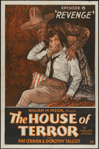 "The House of Terror (William Pizor, 1928). One Sheet (27"" X 41"") Episode 8 -- ""Revenge."" Serial"