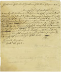 "Autographs:Statesmen, John Hancock Autograph Letter Signed ""JH"" as Governor ofMassachusetts. ..."