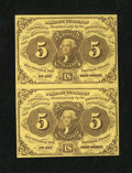Fractional Currency:First Issue, Fr. 1230 5c First Issue Vertical Pair Choice New.... (Total: 2 notes)