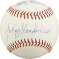 Autographs:Baseballs, Baseball's Greatest Feats Multi-Signed Baseball. Each of the trioof men that we focus on for this lot has performed one of...