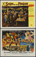 "Movie Posters:Adventure, Sign of the Pagan (Universal International, 1954). Title Lobby Cardand Lobby Card (11"" X 14""). Adventure.... (Total: 2 Items)"