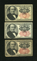 Fractional Currency:Fifth Issue, Fr. 1308 (2); 1309 25c Fifth Issue.... (Total: 3 notes)