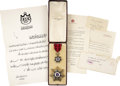 Autographs:Non-American, Insignia of the Order of Al Rafidain (2nd Class), Kingdom ofIraq,... (Total: 3 Items)