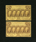 Fractional Currency:First Issue, Fr. 1281 25c First Issue Two Examples.... (Total: 2 notes)
