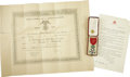 Autographs:Non-American, Insignia, Officer of the Legion of Honor, Republic of France,...(Total: 2 Items)