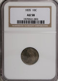 Bust Dimes: , 1835 10C AU58 NGC. . NGC Census: (70/241). PCGS Population(42/144). Mintage: 1,410,000. Numismedia Wsl. Price for NGC/PCGS...
