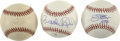 Autographs:Baseballs, Baltimore Orioles Single Signed Baseballs -- Palmer, Ripken, andRobinson Lot of 3. Three of the greatest members of the Ba...