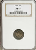 Seated Dimes: , 1891 10C MS63 NGC. . NGC Census: (142/435). PCGS Population(155/352). Mintage: 15,310,600. Numismedia Wsl. Price for NGC/P...