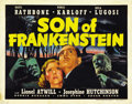 "Movie Posters:Horror, Son of Frankenstein (Universal, 1939). Title Lobby Card (11"" X14"")...."