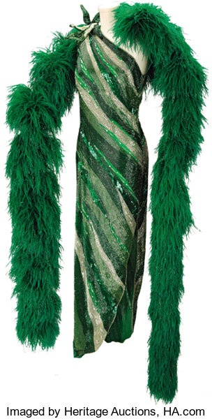 a2725fbba28 Nolan Miller Emerald Green Beaded Gown and Ostrich Feather Boa