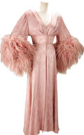 Movie/TV Memorabilia:Costumes, Nolan Miller Dusty Pink Silk Jacquard Negligee and Nightgown withOstrich Feathers for Joan Collins in her Role as Alexis in ...(Total: 1 Item)