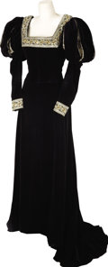 Movie/TV Memorabilia:Costumes, Nolan Miller Design for Dynasty, Black Velvet 15th CenturyPeriod Gown Worn by Kate O'Mara. 1986; Velvet, satin, lam...(Total: 1 Item)