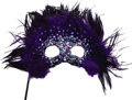 Movie/TV Memorabilia:Costumes, Nolan Miller Designed Masquerade Mask with Purple Feathers, Beads and Sequins on Handle. Ca. 1985; Feathers, sequins, beads,... (Total: 1 Item)
