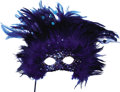 Movie/TV Memorabilia:Costumes, Nolan Miller Designed Blue Feathered Masquerade Mask with Sequinsand Jewels on Handle. Ca. 1985; Feathers, sequins, beads, ...(Total: 1 Item)