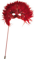 Movie/TV Memorabilia:Costumes, Nolan Miller Designed Masquerade Mask in Red Feathers and BeadsWith Beaded Applique on a Jeweled Handle. Ca. 1985; Feathers...(Total: 1 Item)