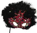 Movie/TV Memorabilia:Costumes, Nolan Miller Masquerade Mask in Black Feathers with Sequins and Large Red Jewels on Handle. Ca. 1985, Feathers, sequins, jew... (Total: 1 Item)