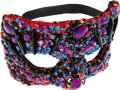 Movie/TV Memorabilia:Costumes, Nolan Miller Designed Masquerade Mask in Red Sequins with Beads in Black, Blue and Purple. ...