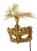 Movie/TV Memorabilia:Costumes, Nolan Miller Designed Masquerade Mask in Gold Beads with a Plume onHandle. Ca. 1985; Sequins, beads, feathers, wood dowel, ... (Total:1 Item)