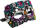 Movie/TV Memorabilia:Costumes, Nolan Miller Designed Masquerade Mask in Purple, Turquoise, Fushiaand White Jewels. Ca. 1986; Beads set and unset, netting,...(Total: 1 Item)