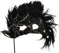 Movie/TV Memorabilia:Costumes, Nolan Miller Designed Masquerade Mask in Black Feathers, Black Beads and White Jewels on Jeweled Handle. Ca. 1986; Feathers,... (Total: 1 Item)