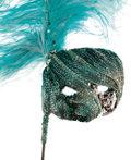 Movie/TV Memorabilia:Costumes, Nolan Miller Designed Masquerade Mask for Dynasty in Turquoise and White Beading and Sequins with an Ostrich Feather P... (Total: 1 Item)