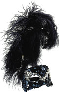 Movie/TV Memorabilia:Costumes, Nolan Miller Designed Masquerade Mask in Blue Sequins and Featherswith White Jewels and Pearls. Ca. 1986; Ostrich feathers,...(Total: 1 Item)