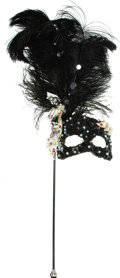 Movie/TV Memorabilia:Costumes, Nolan Miller Designed Masquerade Mask for a Costume Worn byElizabeth Taylor. Ca. 1985; Ostrich feathers, mother-of-pearl, b...(Total: 1 Item)