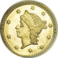 California Fractional Gold, 1855 25C Liberty Round 25 Cents, BG-227, R.6, MS64 NGC....