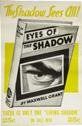 Books:First Editions, Maxwell Grant [pseudonym of Walter B. Gibson]. 1931 BookshopAdvertising Sign for Eyes of the Shadow....