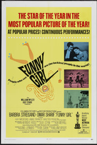"Funny Girl (Columbia, 1969). One Sheet (27"" X 41"") and Lobby Cards (4) (11"" X 14""). Musical.... (Tot..."