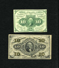 Fractional Currency:First Issue, Fr. 1242 10c First Issue VF-XF. Fr. 1255 10c Second Issue Fine-VF.. ... (Total: 2 notes)