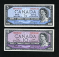 Canadian Currency: , BC-39a $5 1954 Choice CU. BC-40a $10 1954 VF.. ... (Total: 2 notes)