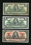 Canadian Currency: , BC-21c $1 1937 Fine; AU. BC-22b $2 1937 Choie CU.. ... (Total: 3 notes)