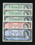 Canadian Currency: , BC-37b-i $1 1954 Two Examples VF-XF; Choice CU. BC-37d $1 1954 GemCU. BC-38c $2 1954 Gem CU. BC-39c $5 1954 Choice CU.. ... (Total: 5notes)