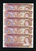 Canadian Currency: , BC-47a $2 1974 5 Examples. . ... (Total: 5 notes)