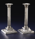 Silver & Vertu:Hollowware, A PAIR OF VICTORIAN SILVER CANDLESTICKS. George Happe, Sheffield, England, 1898-1899. Marks: (lion passant), (crown), GH, ... (Total: 2 Items)