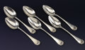 Silver Flatware, American:Wood & Hughes, A SET OF SIX AMERICAN SILVER SERVING SPOONS. Wood & Hughes, NewYork, New York, circa 1885. Marks: WwH, STERLING . 8-1/4...(Total: 6 Items)