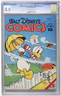 Walt Disney's Comics and Stories #42 (Dell, 1944) CGC VF 8.0 Cream to off-white pages