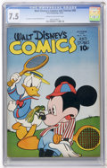 Golden Age (1938-1955):Cartoon Character, Walt Disney's Comics and Stories #49 (Dell, 1944) CGC VF- 7.5 Creamto off-white pages....