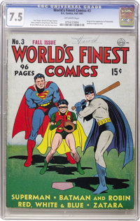 World's Finest Comics #3 (DC, 1941) CGC VF- 7.5 Off-white pages
